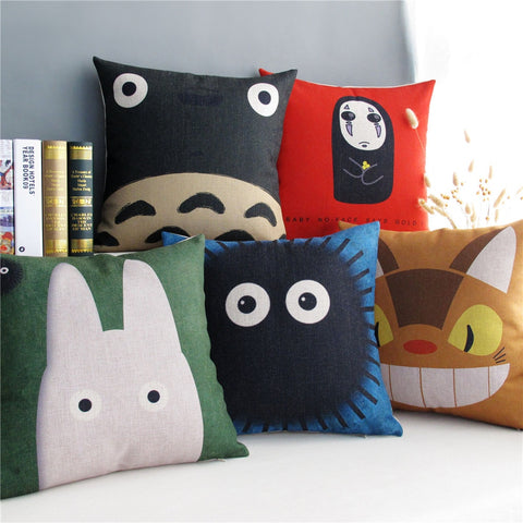 Home Decorative Cushion Cover Pillow Case Japan Hayao Miyazaki Totoro Series Cat Pattern Linen Cotton Cushions Covers 45x45cm