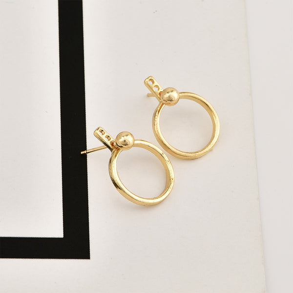 Japan Europe And The United States Fashion Simple Wind New Round Beads Hung Circle Female Earrings  Wholesale fashion