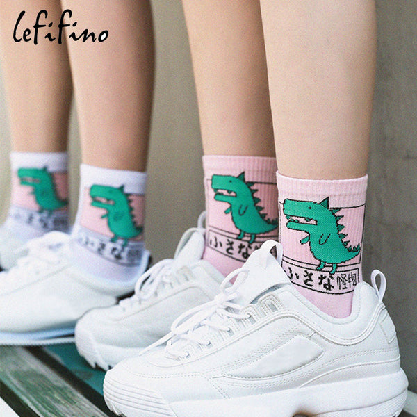 Japan Harajuku Women Cute Cartoon Animal Dog Dinosaur Cat Cotton Socks Lovely Men Funny Novelty Creative Unisex Socks Ne73030