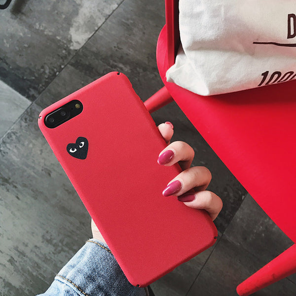 Japan tide brand CDG PLAY Comme des Garcons Loving eyes case cover for iphone 7 plus 6 6S X 8 plus XR XS MAX Frosted phone cases