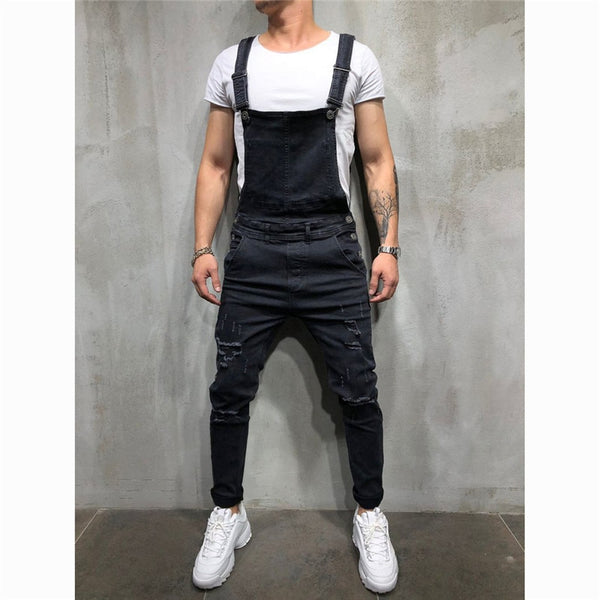 MORUANCLE Fashion Men's Ripped Jeans Jumpsuits Hi Street Distressed Denim Bib Overalls For Man Suspender Pants Size S-XXXL