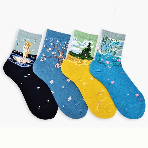 New Arrival Van gogh Painting Scenery Funny Women Short Socks Ankle Breathable Art Painting Japan Style Cartoon Customized Sox