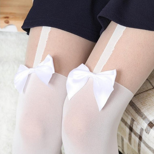 Popular in Japan Girl Women Sexy velvet Tights fake High Stocking Pantyhose Mock Bow Suspender High Knee Tattoo Tights