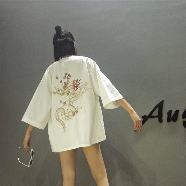 harajuku Japanese kimono cardigan 2018 vintage novelty summer cherry dragon embroidery chiffon sun protection women clothing