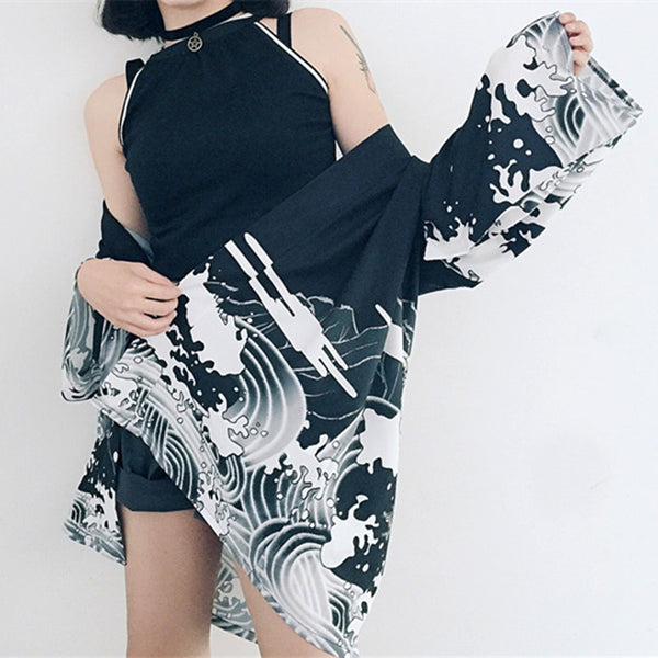 harajuku kimono cardigan 2018  vintage casual summer dragon waves printed chiffon sun protection women clothing outerwear blouse