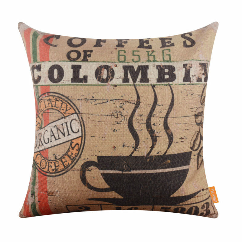 "LINKWELL 18""x18"" Vintage Colombia Coffee Organic Design Pattern"