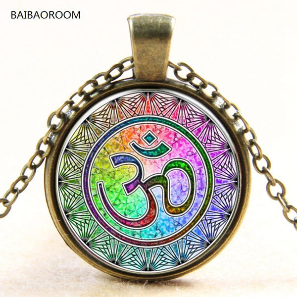 Rainbow OM Yoga India  glass pendant necklace