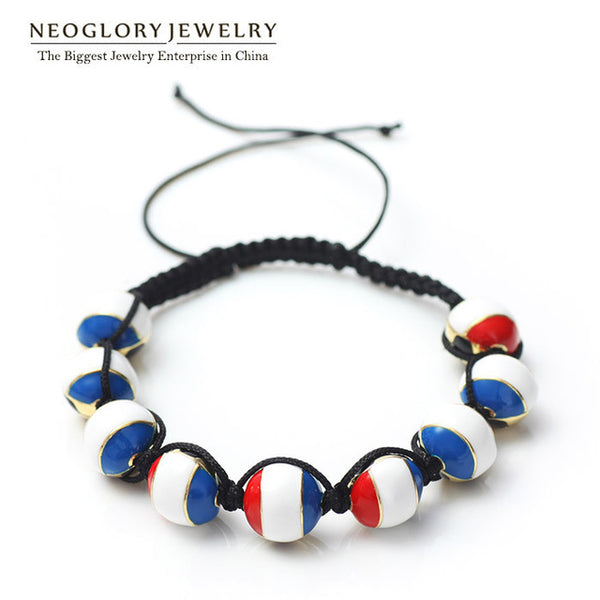 Neoglory Light Yellow Gold Color Stoving Varnish Zinc Alloy France Flag Bangles & Bracelets For Women Men Sporty Jewelry