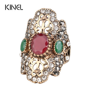 Unique Red Antique Ring Color Ancient Gold Vintage Crystal Rings For Women Party Jewelry