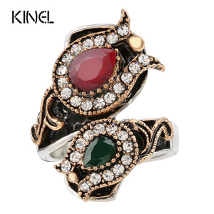 From India Vintage Wedding Rings For Women Color Antique Gold Unique Crystal Resin Big Ring Women's Jewellery Christmas Gift