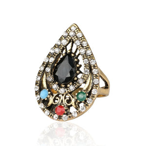 Retro India Ring Jewelry Plated Ancient Bronze Mosaic Rhinestone Hollow Out Carved Geometric Vintage Statement Womens Ring