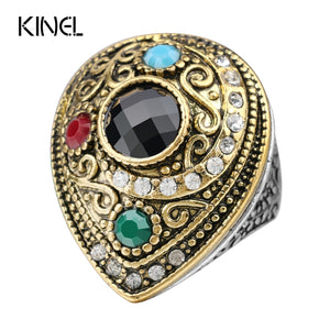 From India Big Rings For Women Gold Color Vintage Water Drops Wedding Ring 2016 Fashion Jewelry Wholesale
