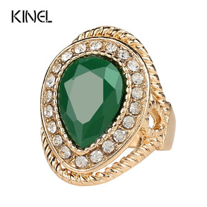 Wedding Ring Gold Color Green Stone Gift Crystal India Jewellery