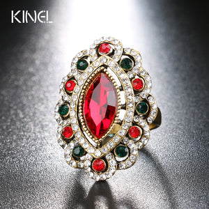 Luxury Vintage Jewelry Red Glass Rings For Women  Antique Gold Color Tibet Alloy India Eye Ring Crystal Gifts