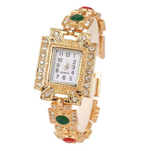 Rhinestone Wristwatch Tibet Style   Gold Square Resin Bangles For Women
