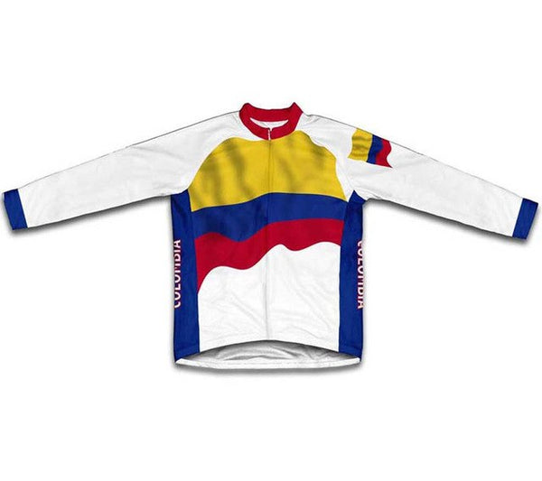 Colombia Flag Winter thermal Cycling Jerseys Men