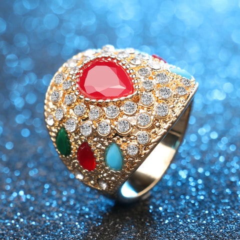 Charms India Big Rings For Women Vintage Accessories Mosaic Color Resin Gold Color Crystal Jewelry Fashion 2016