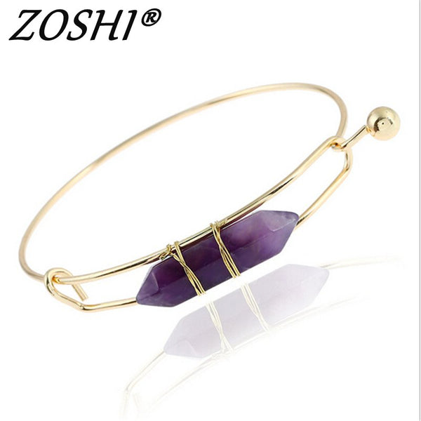 Fashion Gold Plate Purple Pink Blue Geometric Natural Stone Cuff Punk Bracelet Bangle Faux Marble Stone pulseras from India