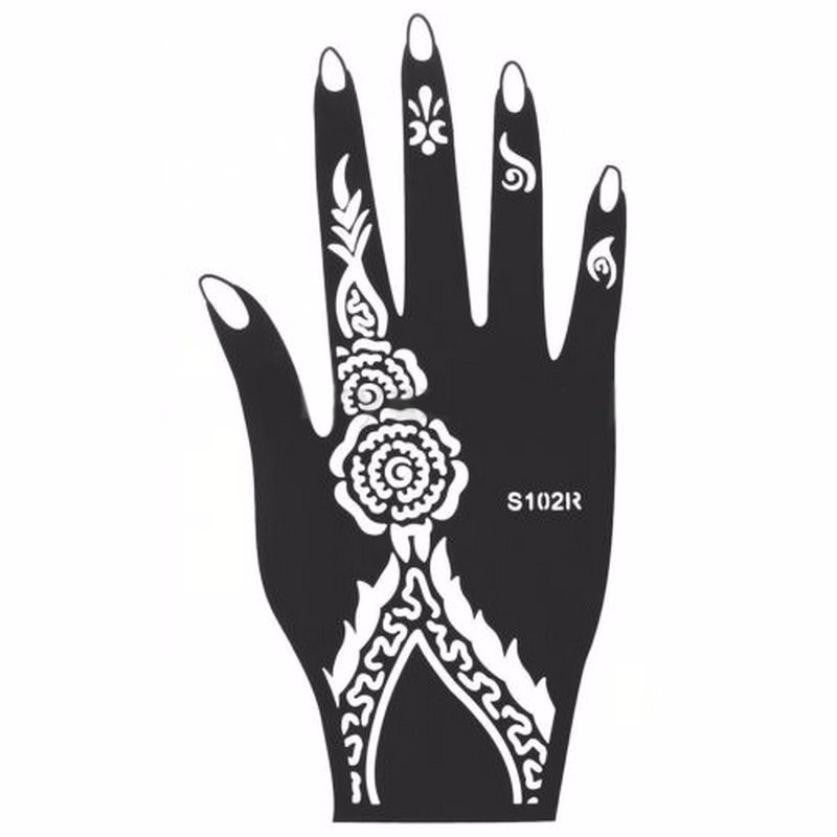 New 1Pcs India Henna Temporary Tattoo Stencils For Hand Leg Arm Feet Body Art Template Body Decal For Wedding