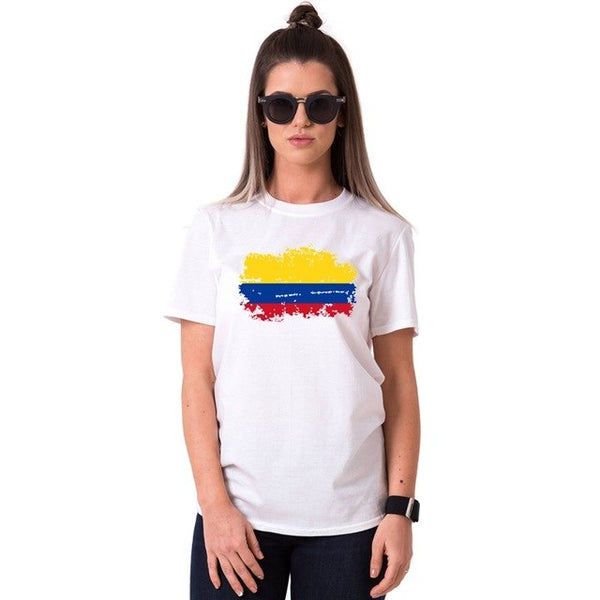 Colombia Flag Printing Tee Shirt Female Tees Tops Couple T Shirt