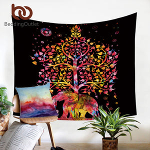Elephant With Tree Tapestry Bohemia Wall Carpet Boho India Mandala Hanging Wall Tapestry Black