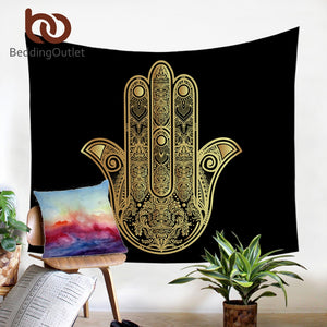 Tapestry Hamsa Hand Wall Hanging Golden Art Carpet Bohemian Decorative Tapestry 2 Sizes Sheet