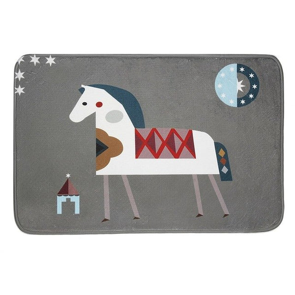 England Style Small Horse Printed Floor Mat Anti-Slip Breathable mat