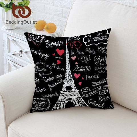 France Paris Tower Cushion Cover Romantic Letters Pillow Case