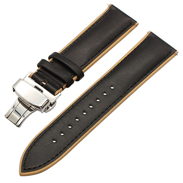 France Genuine Leather Watch Band Double Color for Fossil Q Founder Marshal Wander Crewmaster Grant Quick Release Wrist Strap