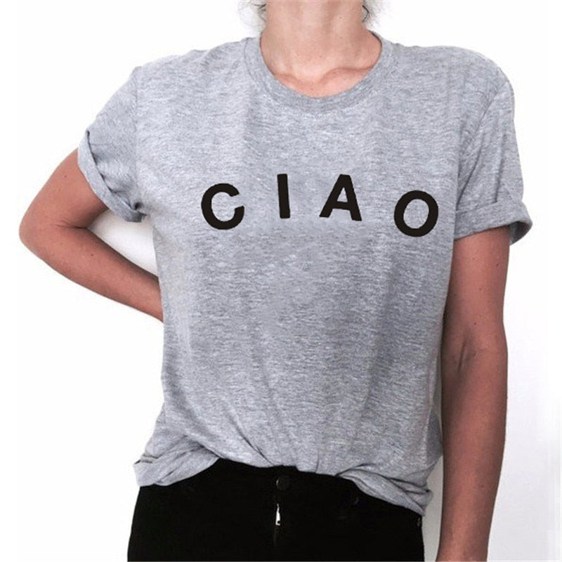 CIAO Italy Ladies T-shirt Fashion Women Casual Short Sleeve Summer Tee