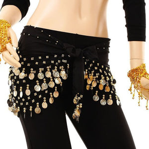 Fashion Chiffon Belly Dance India Dance Hip Scarf 3 Rows Coin Belt Skirt