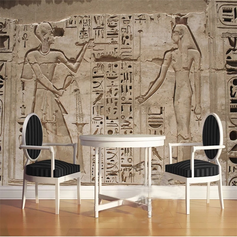 Custom Photo Wallpaper 3D Ancient Egypt Pharaoh Stone Carving
