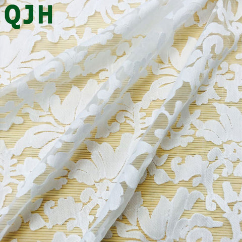 France Maple Leaf Embroidery  Net Lace Organza guipure cord lace fabric