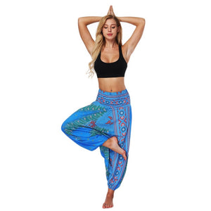 Stylish Ethnic Style 3D Print India Belly Dance Pants Wide Leg Loose Yoga Trousers Women Fitness Pants