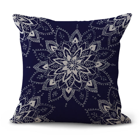 Hoomall Fashion Linen Mandala Cushion Cover Lotus Pattern India Throw Pillows for Bedroom Chair Sofa Bay Window Pillow Cover