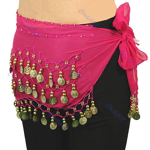 New Chiffon India 3 Rows Gold Coin Chain Belt Skirt Belly Dance Hip Scarf