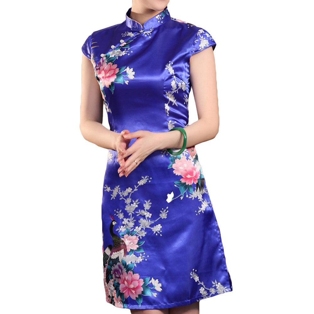 Cheongsam Women Vintage Mini Traditional Peacock Slant Opening Cheongsam Knee-length Chinese Style Dress