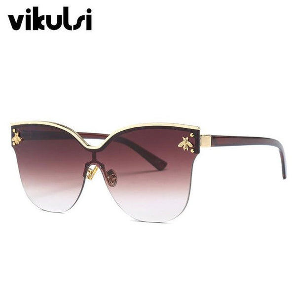 Luxury Italy Oversized Semi-Rimless Sunglasses Women Retro Brand Fashion Designer Bee Metal Frame Sun Glasses For Female Oculos