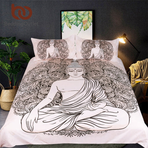 Buddha Printed Bedding Set Queen India Bed Cover Peceful Meditating Duvet Cover With Pillowcase 3-Piece Bedclothes
