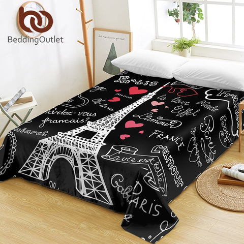 France Paris Tower Bed Sheets Black and White Flat Sheet