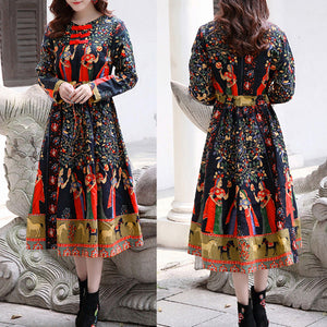Fashion Women Vintage Floral Dress Chinese Frog Buttons O Neck Long Sleeve Drawstring Loose Dress
