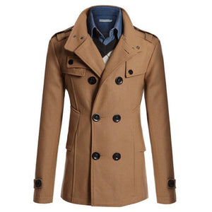 Men's Jacket Coat Warm Woolen Casual Slim Fit Double-breasted