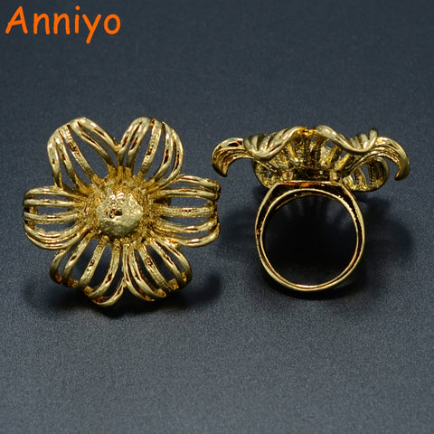 Flower Ring for Women Gold Color Jewelry