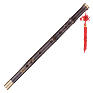 Professional Black Bamboo Dizi Flute Traditional Handmade Chinese Musical Woodwind Instrument Key of G Study Level