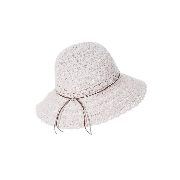Bow Knot Hollow Lacework Wide Brim Straw Bucket hats