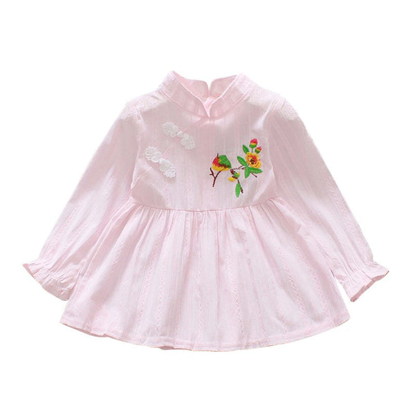 Baby Girls Dress Autumn Long Sleeve Princess Dress For Girl Kids Dresses Clothes Pink&Blue Chinese Style