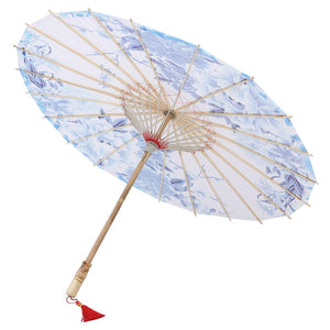 Oil Paper Umbrella Custom Water Town Classical Umbrella not Rainproof Dance Chinese Style Craft Umbrella Prop (Blue)