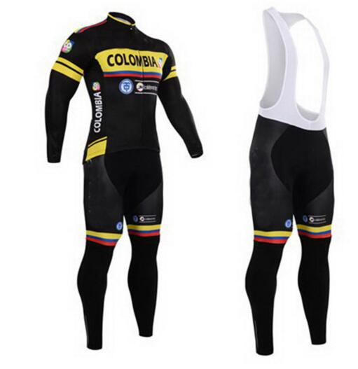 Colombia Pro Team Spring/Autumn Long Sleeves Cycling Jersey Set Quick Dry