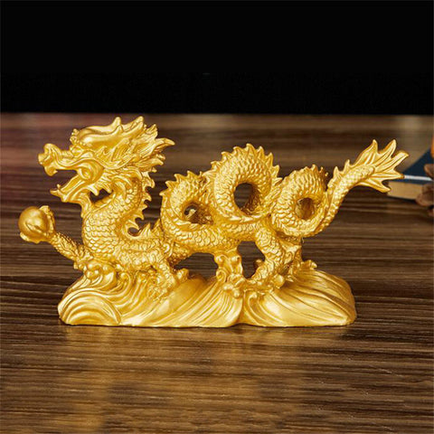 6.3'' Geomancy Gold Dragon Figurine Statue Ornaments for Luck & Success