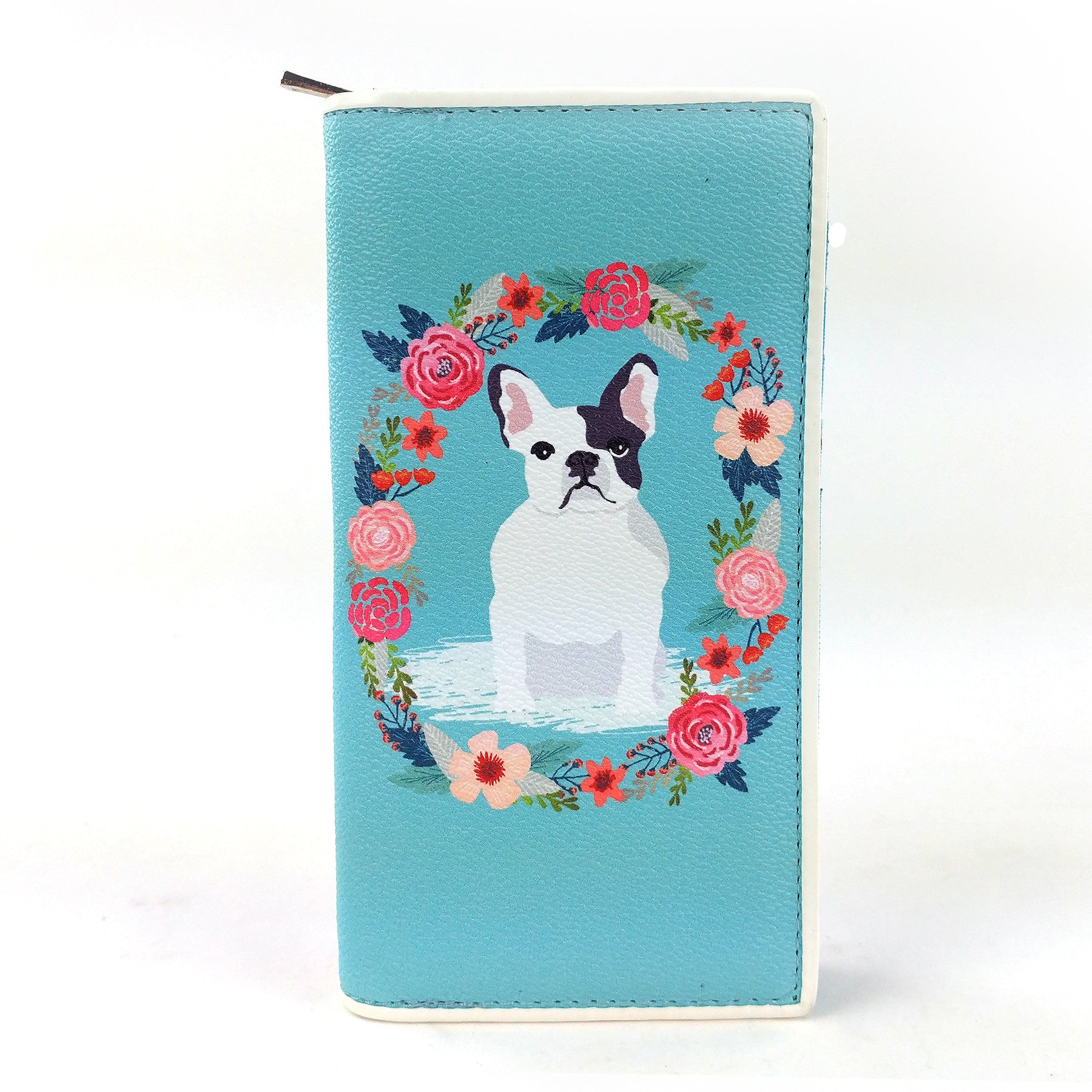 Floral French Bulldog Wallet in Vinyl Material